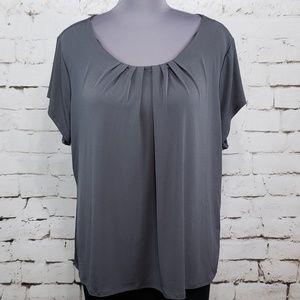 Worthington Woman 5X Gray Short Sleeve Blouse